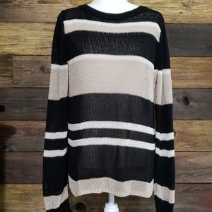 Ann Taylor Loose Weave Knit Colorblock Sweater